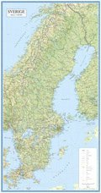 Sverige 1:1,2 milj - enkel väggkarta i plasttub