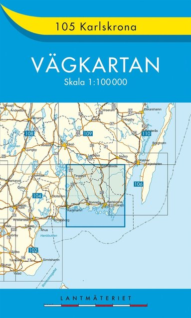 bokomslag 105 Karlskrona Vägkarta : 1:100000