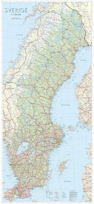 bokomslag Sverige Väggkarta 1:1,2milj Miljö Tub