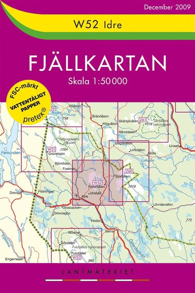 bokomslag W52 Idre Fjällkartan - 1:50000