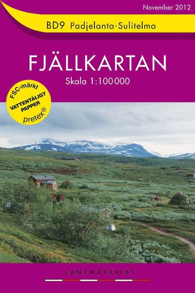 bokomslag BD9 Padjelanta-Sulitelma Fjällkartan : 1:100000