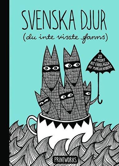 bokomslag Svenska djur (du inte visste fanns) : 20 vykort att färglägga