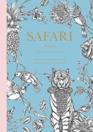 bokomslag Safari : tavelbok - målarbok med 20 illustrationer att färglägga, riva ut och rama in