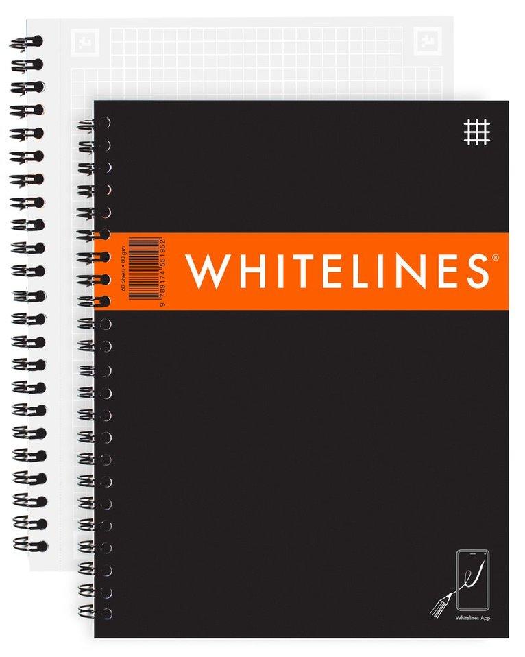 Kollegieblock A5 Whitelines Link rutad svart 1