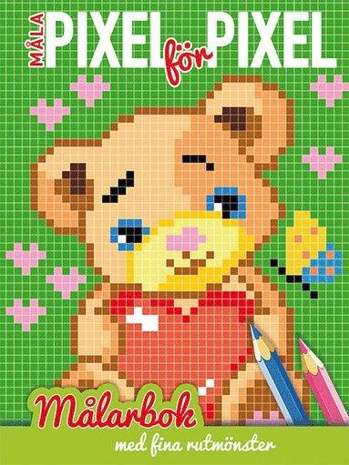 bokomslag Måla pixel för pixel : målarbok med fina rutmönster (teddybjörn)