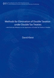 bokomslag Methods for elimination of double taxation under double tax treaties : with particular reference to the application of double tax treaties in Sweden