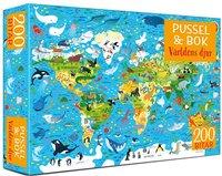 Pussel 200 bitar & bok - Världens djur