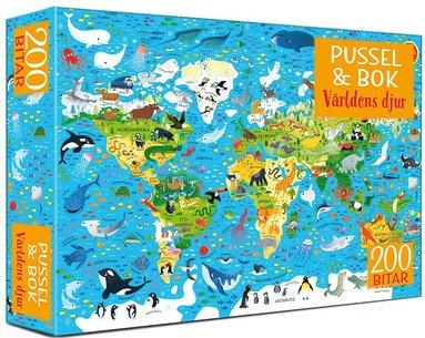 Pussel 200 bitar & bok - Världens djur 1
