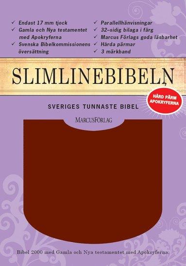bokomslag Slimline Bibeln röd cabraskinn med apokryferna