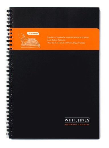Kollegieblock Whitelines A4 rutad svart