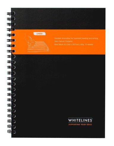 Kollegieblock Whitelines A5 linjerad svart