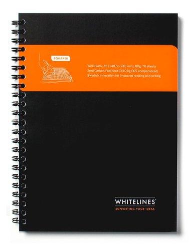 Kollegieblock Whitelines A5 rutad svart