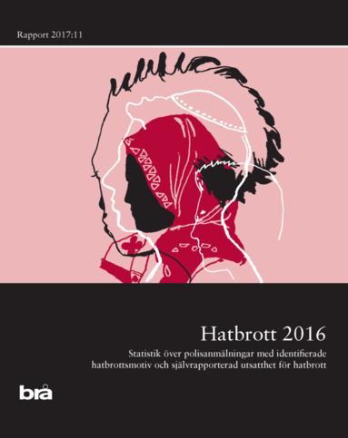bokomslag Hatbrott 2016 : statistik över polisanmälningar med identifierade hatbrottsmotiv och självrapporterad utsatthet för hatbrott
